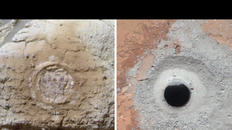 Tak vypadají místa odběrů sond Opportunity a Curiosity. FOTO: NASA