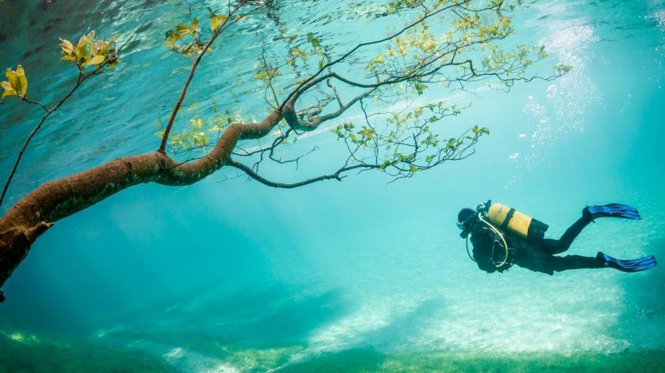 Potápění v Zeleném jezeře v Tragössu (Rakousko)