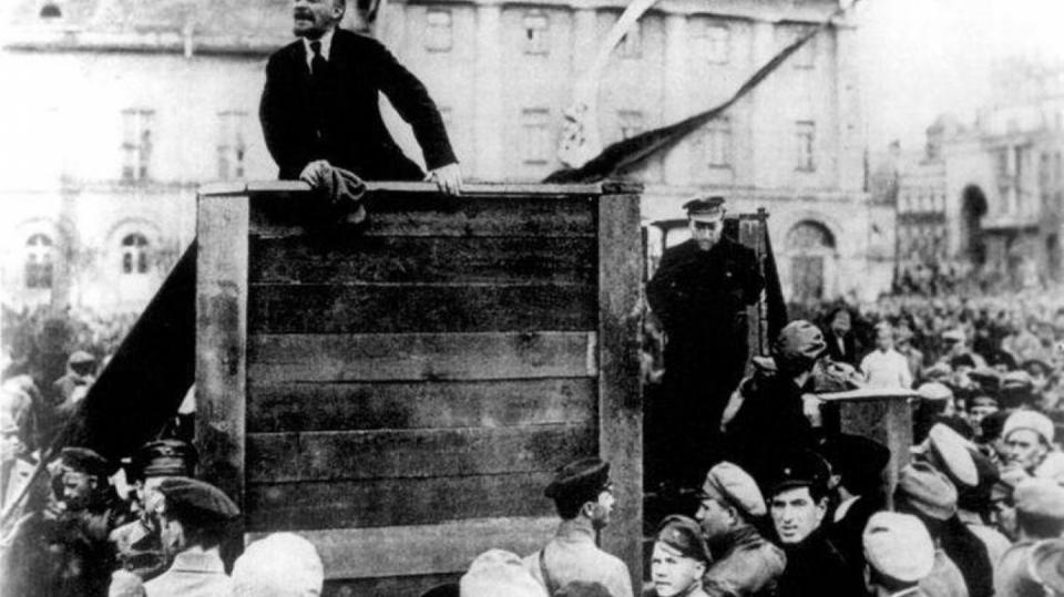 Lenin řeční v Moskvě
