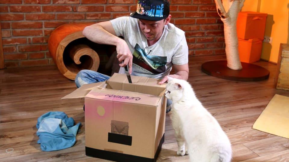 Jak vykouzlit ze starého trika a nepotřebné krabice vychytaný domeček pro kočku 2