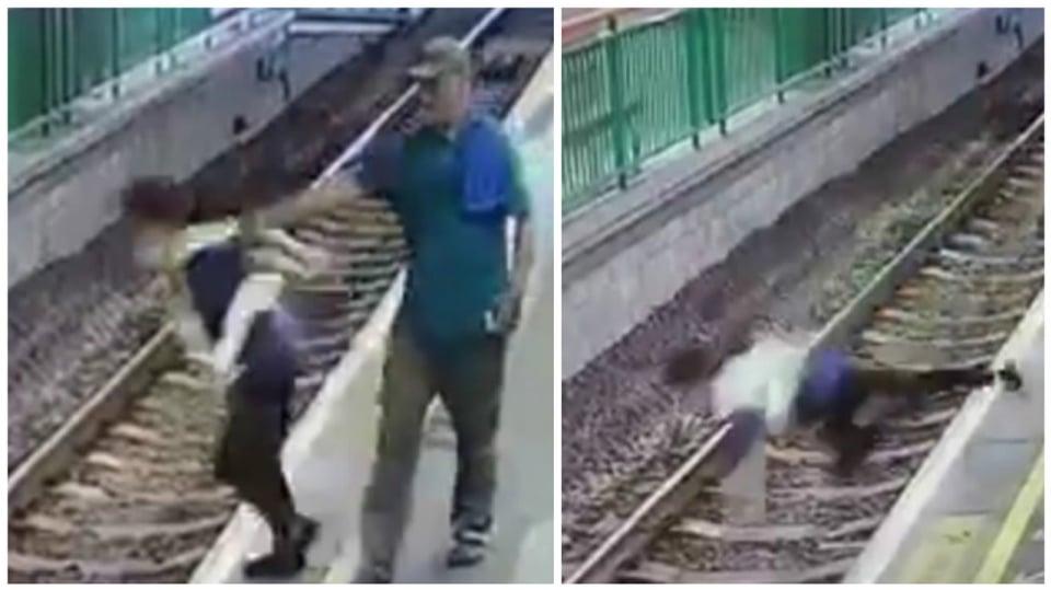 Muž strčil ženu do kolejí.