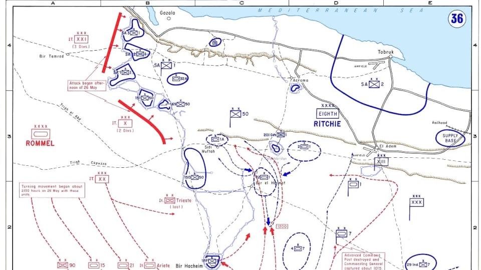 Válečná situace kolem Tobruku v květnu 1942