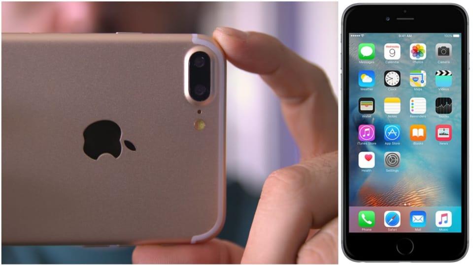 Záda nového iPhonu 7 Plus s dvojitou čočkou fotoaparátu.