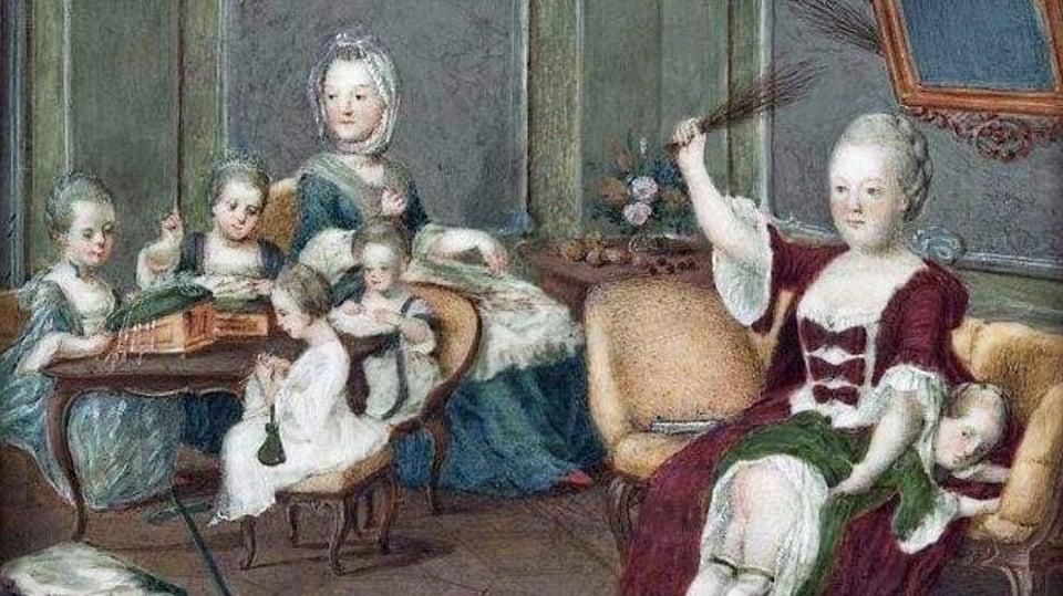 Obraz Marie Terezie s dětmi od neznámého autora.