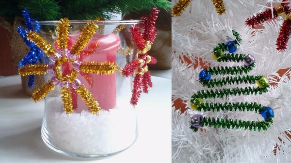 Vánoční ozdoby z chlupatých drátků a korálků