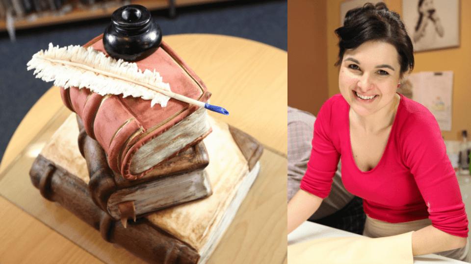 Markétiny knihy s kalamářem a brkem