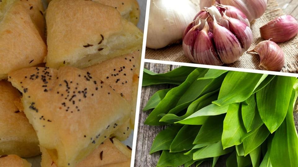 Kynuté trojhránky s česnekovou náplní: Využijte sezonu česneku medvědího