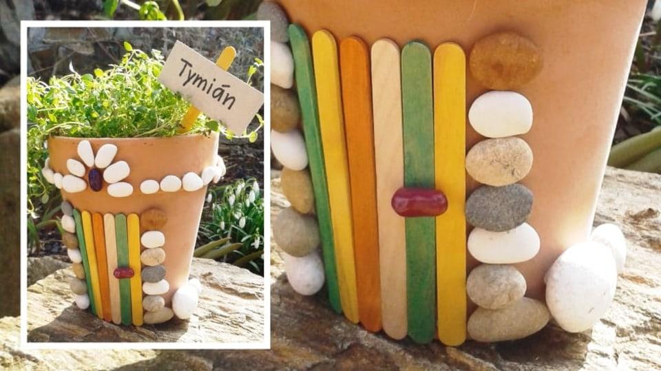 DIY ozdobný květináč na bylinky: Pohrajte si s kamínky a udělejte trůn pro krále Tymiána