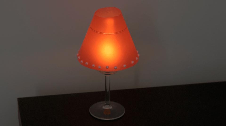 Elegantní lampička skrývá pod stínítkem jen svíčku a skleničku 3