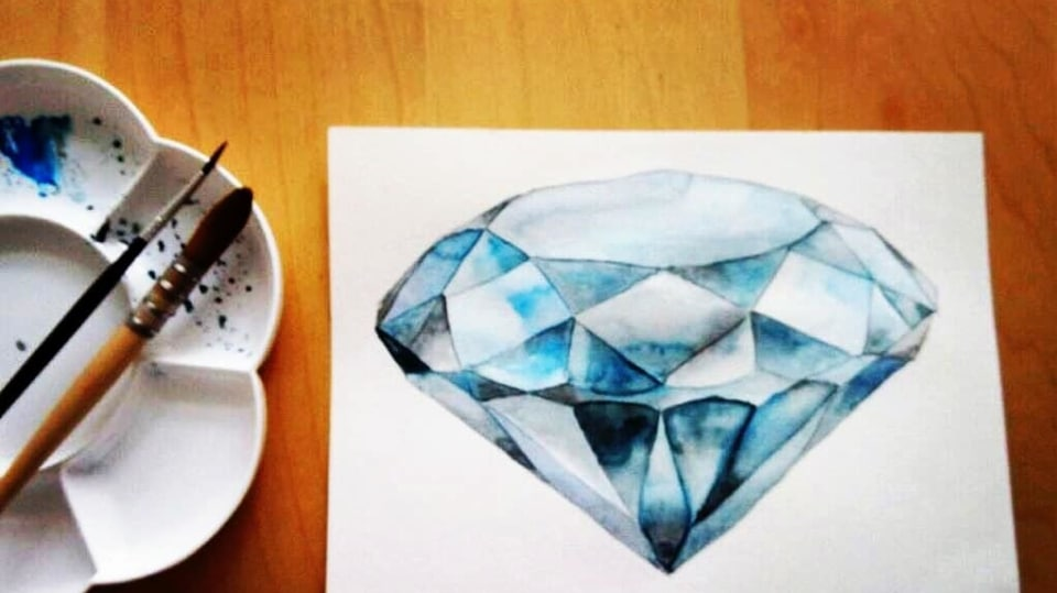 Jak vykouzlit diamant na papír: Namalujte si diamant akvarelem! 1