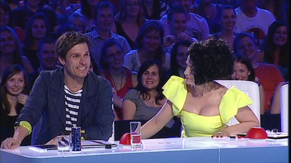 Leoš Mareš při posledním vysílání soutěže Česko Slovensko má talent dostal nekontrolovatelný záchvat smíchu