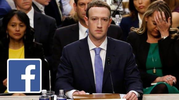 Mark Zuckerberg na slyšení před americkými senátory