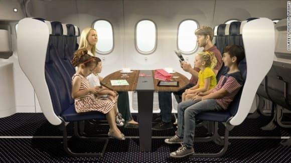 Sedadla proti sobě v letadle?