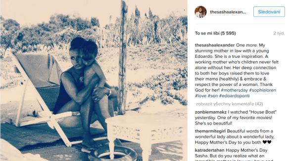 Sasha se podělila o fotku své slavné tchýně Sophie Lorenové