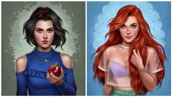 Princezny z pohádek od Disneyho jako obyčejné holky