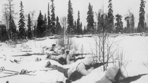 Finské lyžařské jednotky v severním Finsku v lednu roku 1940