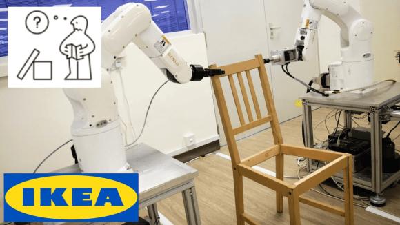 Robot sestavuje IKEA židli