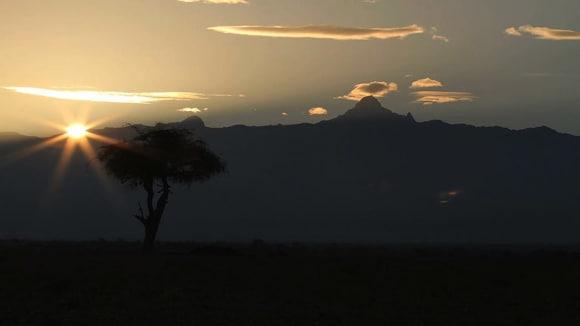 Pohled na Mt. Kenya z rezervace Ol Pejeta