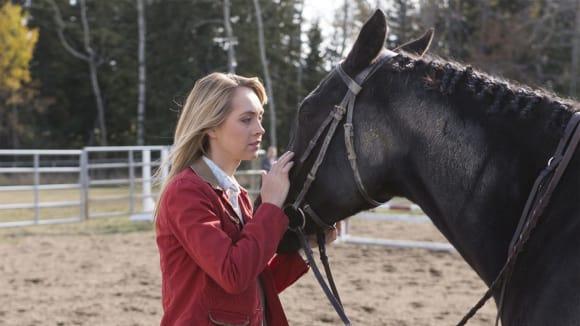 Amy s koněm na farmě