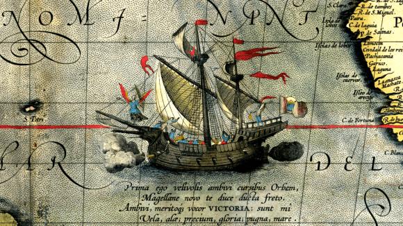 Detail historické mapy s lodí Victoria
