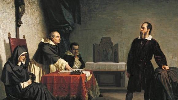 Malba Cristiana Bantiho z roku 1857 Galileo čelí římské inkvizici
