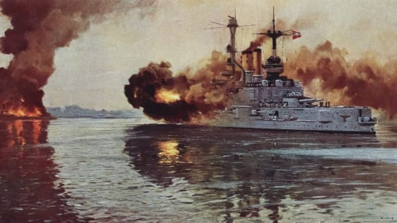 23-german-battleship-schlesig-holstein-on-1st-september-1939-fires-the-first-naval-shots-of-the-war-at-danzig-picture-by-claus-bergen