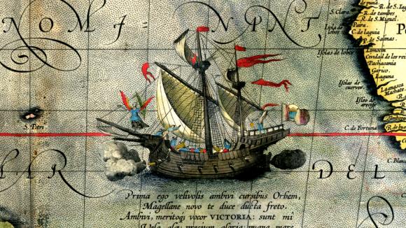 Detail mapy z roku 1590 zobrazující loď Victoria