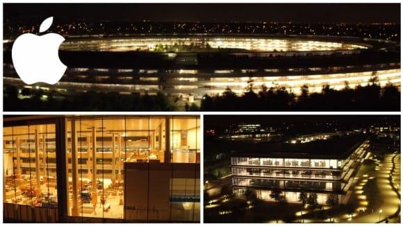 Noční záběry Apple Parku před dokončením