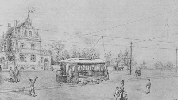 Historický nákres Křižíkovy tramvaje