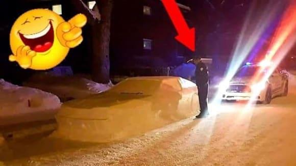 Kanadští policisté dali pokutu autu ze sněhu