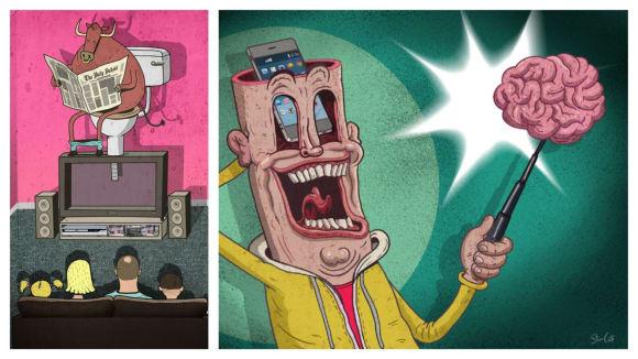 Steve Cutts ukazuje bolístky našeho životního stylu