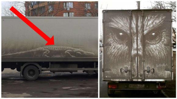 Špinavá auta posloužila ruskému umělci jako plátno...