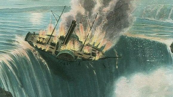 Parník Caroline padající z Niagarských vodopádů