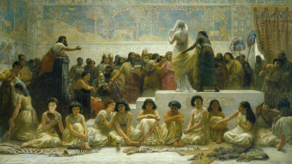 Starobabylonský trh se ženami v představě Edwina Longa (19. století)