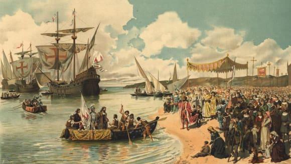 Vasco da Gama přistávající u indických břehů.