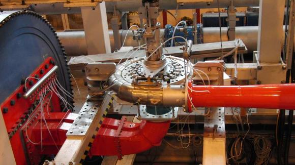 Model turbínovéhosystému přečerpávací elektrárny Dlouhé stráně