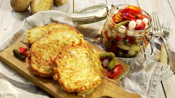 Křenové bramboráčky s olomouckým syrečkem