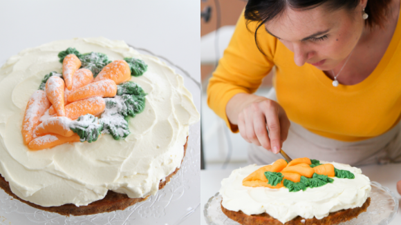 Mrkvový dort potřebuje šikovné ruce