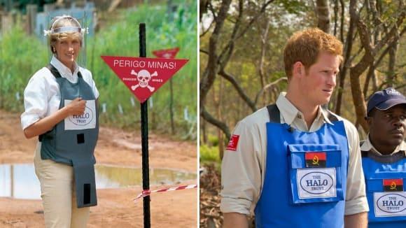 Stejně jako jeho matka bojuje Harry proti nášlapným minám v Angole.