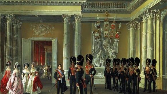 Zbrojní sál Zimního paláce na obraze Adolpha Ladurnera z roku 1838