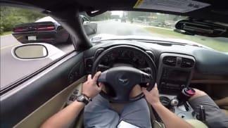 Důchodce v Hellcatu vypráskal řidiče Corvette