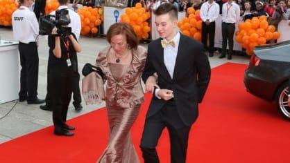 Lívia Klausová a její šestnáctiletý vnuk Vojtěch