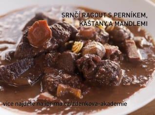 Fotografie k receptu Srnčí ragout s perníkem, kaštany a mandlemi