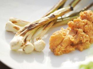 Fotografie k receptu Kachní a husí vejce, cibule s omáčkou romesco