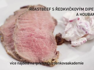 Fotografie k receptu Roastbeef s ředkvičkovým dipem a houbami