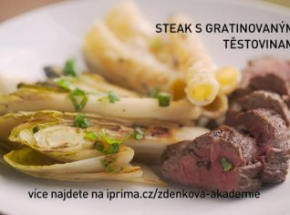 Fotografie k receptu Steak s gratinovanými těstovinami