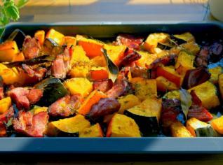 Fotografie k receptu Pečená šunka s dýní a pomerančovou marmeládou