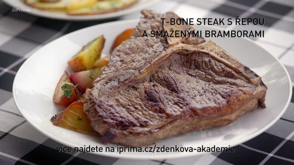 T-bone steak s řepou a smaženými bramborami