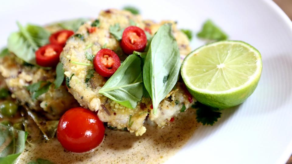 Rybí karbanátky se zeleným kari