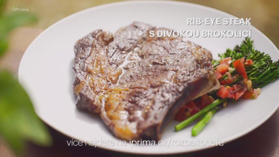 Rib-eye steak s divokou brokolicí